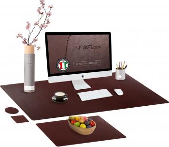 Set mapa birou Office pentru protectie birou Unika din piele PU 1 suport farfurie si 2 suporturi pahar maro Articole si accesorii birou