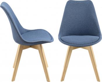 Set 2 bucati scaune bucatarie Frederikstad BL 97 x 42 x 48 cm poliester/lemn de fag albastru Seturi mobila bucatarie