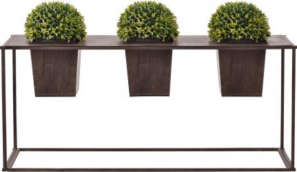 Suport flori cu 3 ghivece pentru exterior 39 x 85 x 24 cm metal maro inchis Ghivece si suporturi