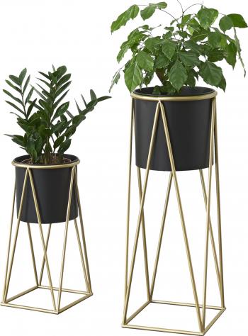 Suport plante Mara 2 bucati marimi diferite metal/ galben auriu Ghivece si suporturi