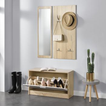 Set mobila pentru hol pantofar cuier de perete oglinda lemn/melamina culoarea lemnului Seturi mobila living