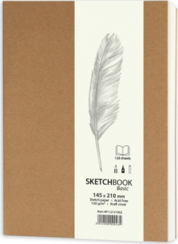 Basic Sketchbook 128 file Drasca 14 5X21 KRAFT Hobby uri creative