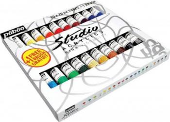 Set 20 culori acrilice Studio Pebeo + 1 pensula cadou Hobby uri creative