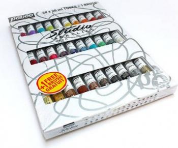 Set 30 culori acrilice Studio Pebeo + 1 pensula cadou Hobby uri creative