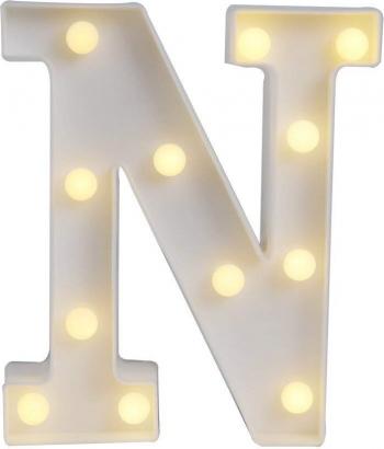 Litera volumetrica N luminoasa LED din plastic cu baterii
