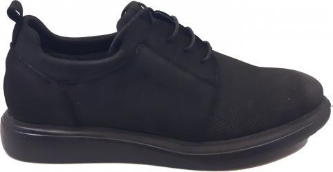 Pantofi casual negri din piele intoarsa In Tempo-39