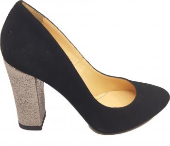 Pantofi eleganti cu toc argintiu negri din piele intoarsa-36