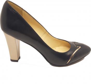 Pantofi eleganti negri cu auriu din piele naturala-37