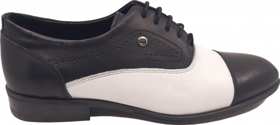 Pantofi eleganti negru cu alb din piele naturala-44