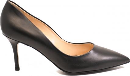 Pantofi eleganti stiletto negri din piele naturala-39 EU