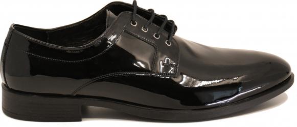 Pantofi negri eleganti din lac pentru barbati -40 EU