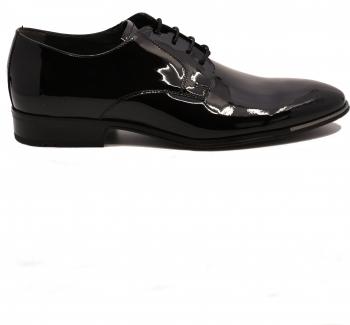 Pantofi negri eleganti din lac pentru barbati -45 EU