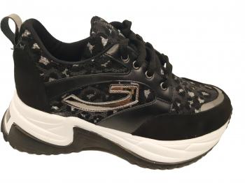 Pantofi sport dama cu talpa voluminoasa negri cu argintiu-39