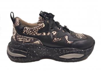 Pantofi sport dama negri cu imprimeu sarpe din piele naturala-38