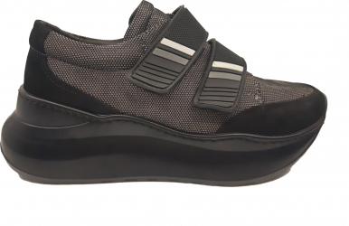 Pantofi sport dama negri cu talpa voluminoasa din piele intoarsa-37