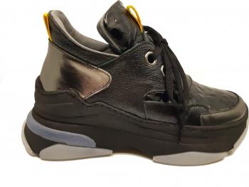 Pantofi sport dama negri cu talpa voluminoasa din piele naturala-39