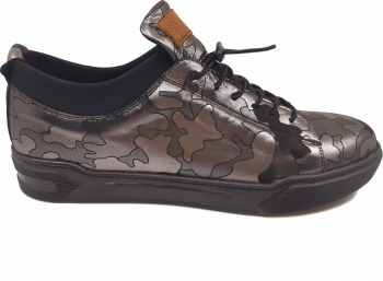 Pantofi sport negri cu argintiu barbati din piele naturala-42