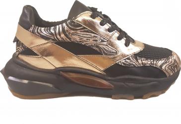 Pantofi sport negri cu roz metalizat din piele naturala-37