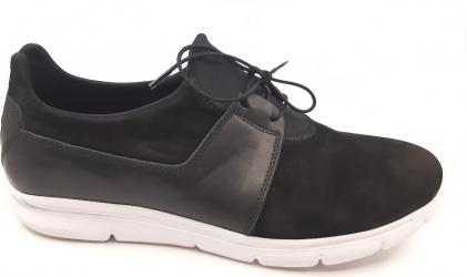 Pantofi sport negri cu siret din piele intoarsa-43