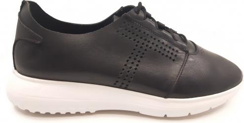 Pantofi sport negri cu siret din piele naturala-41