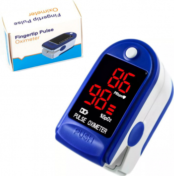Pulsoximetru / Puls-Oximetru FingterTip Albastru/Alb Indica nivelul de Saturatie a Oxigenului din Sange Masoara Rata Pulsului