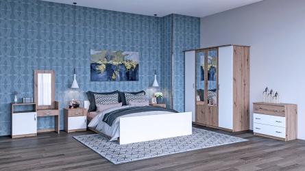 Set dormitor Kim Nova cu dulap comoda corp toaleta pat si noptiere Stejar/Alb Seturi mobila dormitor