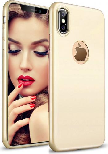 Husa telefon Apple Iphone XS ofera protectie Lux Ultrasubtire Silk Gold