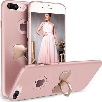 Husa telefon Iphone 7 ofera protectie 3in1 Ultrasubtire Silk Gold Bow Ring