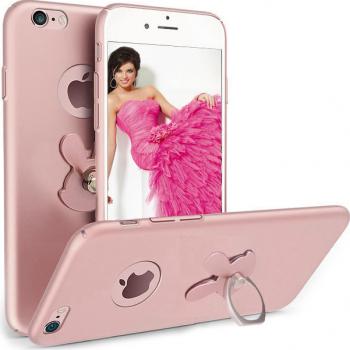 Husa telefon Iphone 7 Plus ofera protectie 3in1 Ultrasubtire Silk Rose Rabbit Ring