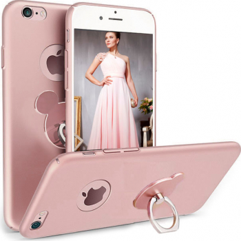 Husa telefon Iphone 7 Plus ofera protectie 3in1 Ultrasubtire Silk Rose Teddy Ring