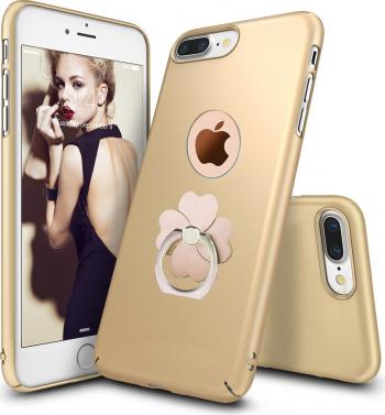 Husa telefon Iphone 8 ofera protectie 3in1 Ultrasubtire Silk Gold Flower Ring