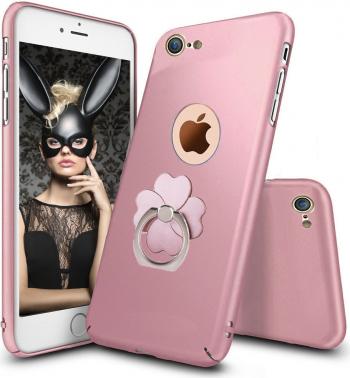 Husa telefon Iphone 8 ofera protectie 3in1 Ultrasubtire Silk Rose Flower Ring