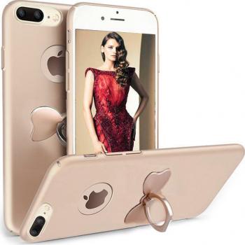 Husa telefon Iphone 8 Plus ofera protectie 3in1 Ultrasubtire Silk Gold Bow Ring