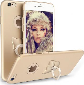 Husa telefon Iphone 8 Plus ofera protectie 3in1 Ultrasubtire Silk Gold Cat Ring