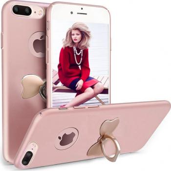 Husa telefon Iphone 8 Plus ofera protectie 3in1 Ultrasubtire Silk Rose Bow Ring