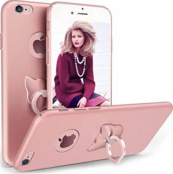 Husa telefon Iphone 8 Plus ofera protectie 3in1 Ultrasubtire Silk Rose Cat Ring