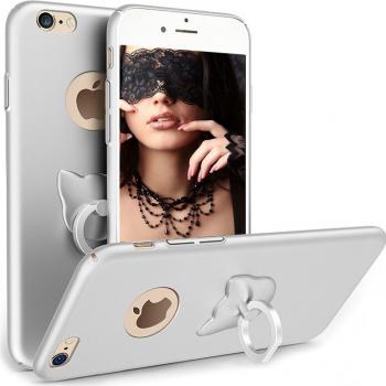 Husa telefon Iphone 8 Plus ofera protectie 3in1 Ultrasubtire Silk Silver Cat Ring