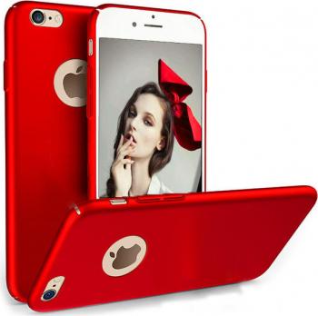 Set Husa telefon Iphone 7 Plus ofera protectie Ultrasubtire - Silk Red Matte + Folie