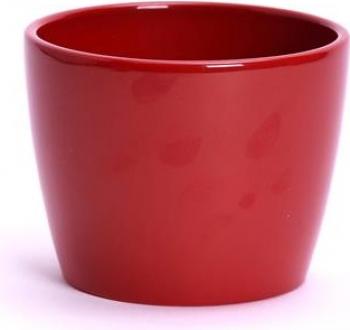 Ghiveci decorativ ceramica 10 cm rosu