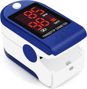 Pulsoximetru Albastru/Alb Indica nivelul de saturatie a oxigenului din sange Masoara rata pulsului