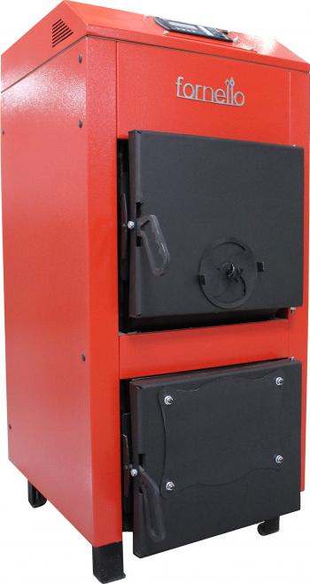 Centrala pe lemne brichete si carbuni Fornello A 25 kW cu ventilator si automatizare serpentina de racire si flansa pentru arzator cu Centrale pe lemne