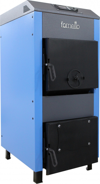 Centrala pe lemne brichete si carbuni Fornello A 35 kW cu ventilator si automatizare serpentina de racire si flansa pentru arzator cu Centrale pe lemne