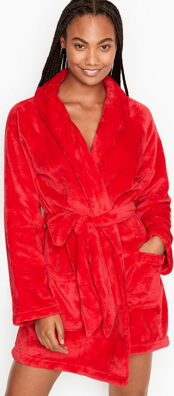 Halat Victorias Secret Logo Short Cozy Bright Cherry Marime S