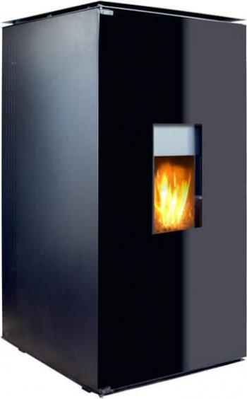 Termosemineu pe peleti cu agent termic Fornello 25 kW Black Glass Special Edition complet echipat pentru incalzire cu pompa vas expasniune Termoseminee