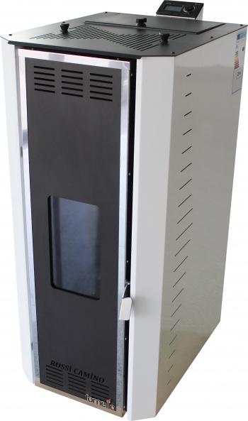 Termosemineu pe peleti Fornello Camino Rossi 25 kW pompa Grundfos vas expansiune arzator inox alb A+ Termoseminee