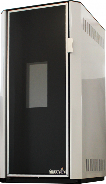 Termosemineu pe peleti Fornello Lidya 25 kW pompa Grundfos vas expansiune telecomanda arzator inox sistem curatare mecanica arzator si Termoseminee
