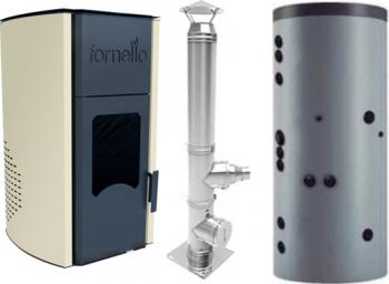 Termosemineu peleti Fornello Royal 25 kw cos de fum inox izolat dn 120 6 metri si puffer 500 litri Termoseminee