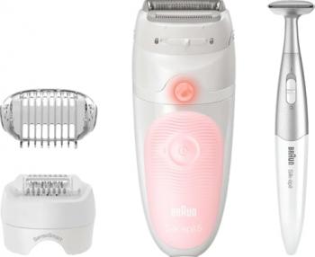 Epilator Braun Silk-epil 5 5-820 SensoSmart Wet and Dry MicroGrip trimmer Bikini Styler 28 pensete alb/roz