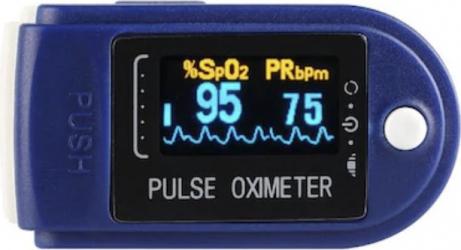 Pulsoximetru medical profesional Yimi indica saturatia oxigenului din sange si pulsul baterii Varta LongLife incluse in pachet