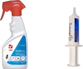 Set insecticid profesional gel Max Force Bayer 20 gr + Draker Rtu 400 ml anti gandaci de bucatarie plosnite muste tantari furnici Articole antidaunatori gradina